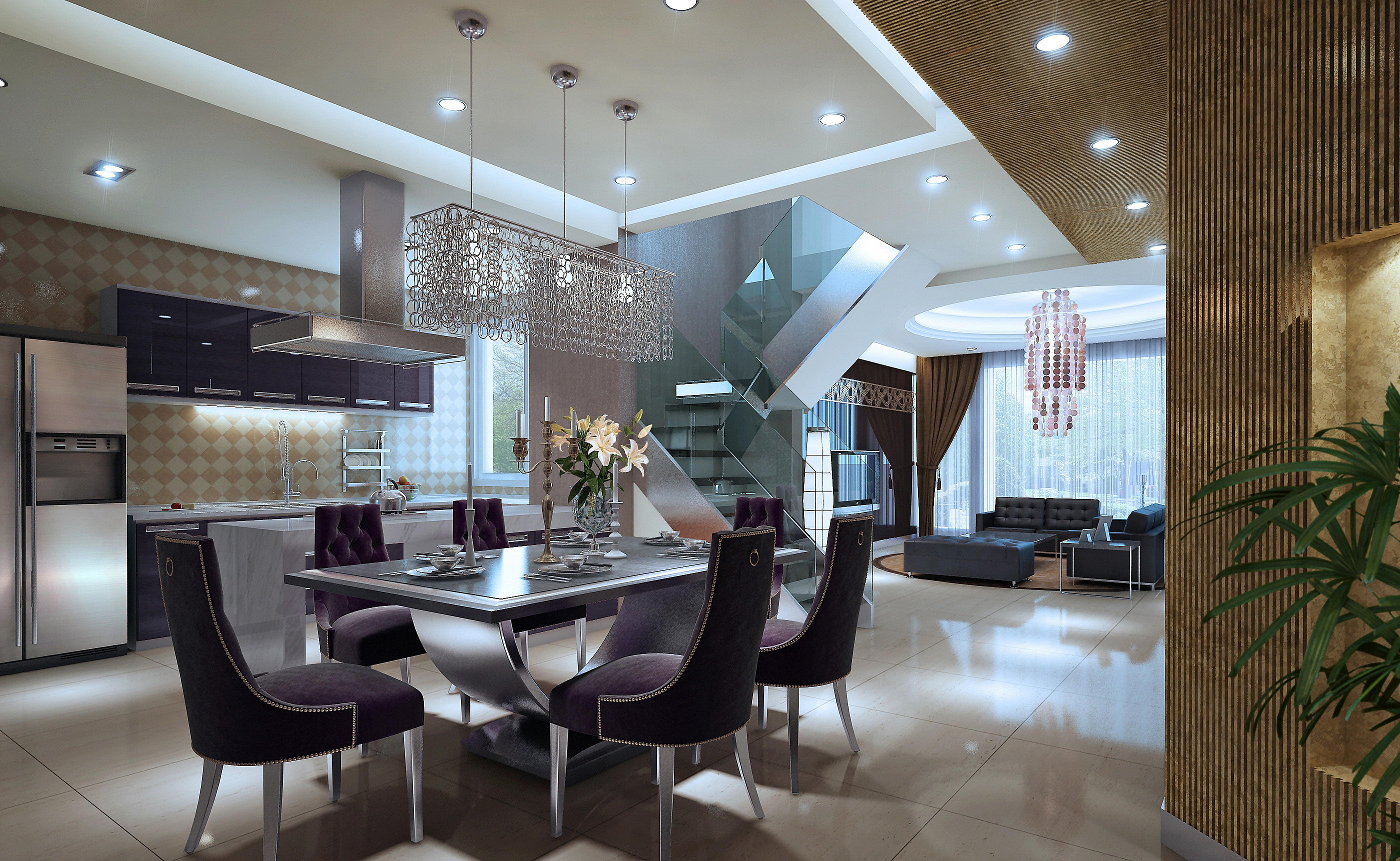 Open plan kitchen and living room dubai